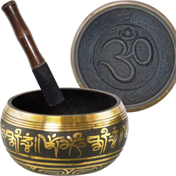 Singing Bowl rounded large OM Black & Gold