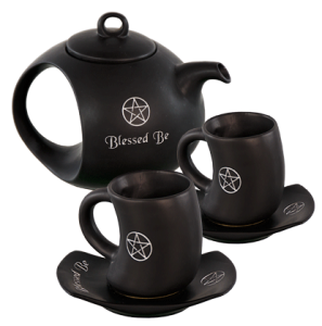 Ceramic tea set blessed be black