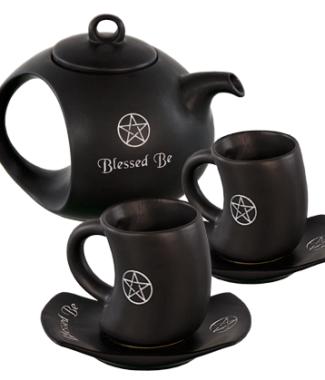 Ceramic tea set blessed be black