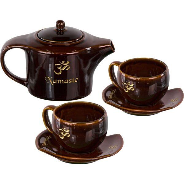 Ceramic tea set namaste brown