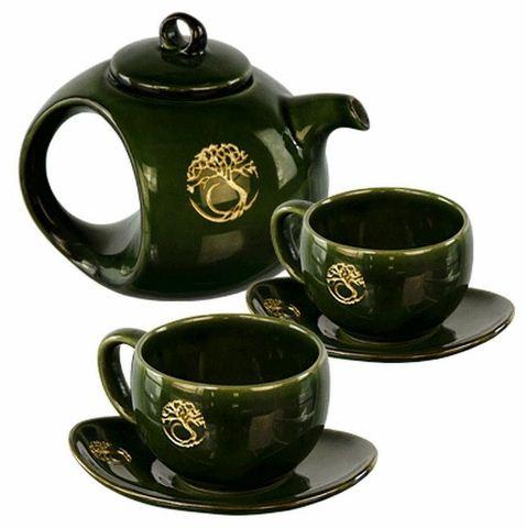 Ceramic tea set tree of life green