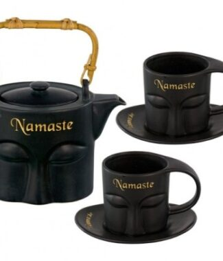 Ceramic tea set namaste black