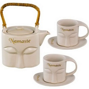 Ceramic tea set namaste white