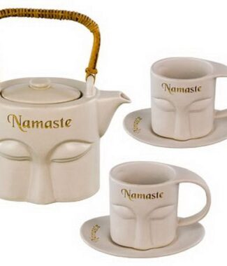 Ceramic tea set namaste white