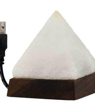 Salt Lamp w/USB Cord & Led Light Pyramid